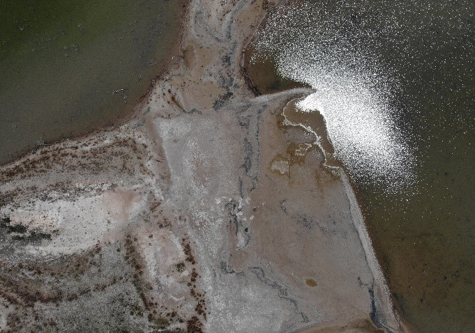 High altitude picture of land and water